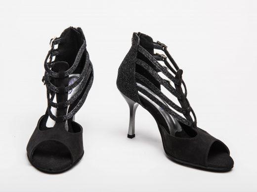 chaussure de danse noir, brides, paillete, talon dégradéd noir et argenté, Lyon (2)