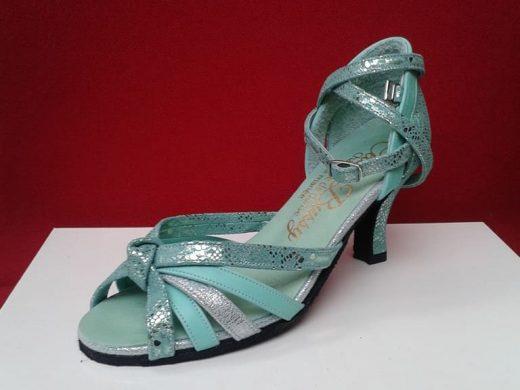 chaussure de danse verte, talon bobine, Lyon