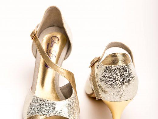 chaussure de danse et de mariage, ivoire et doré talon 7 cm aiguille, lyon